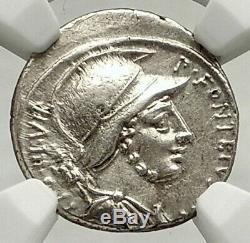 République Romaine 55bc Mars Cheval Guerrier Gaulois Ennemi Défaites Argent Monnaie Ngc I76851