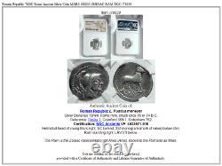 République Romaine 76bc Rome Pièce D'argent Antique Mars Aries Zodiac Ram Ngc I78638
