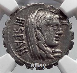 République Romaine 81bc Rome Tribus De L'espagne Défaites Province Argent Monnaie Ngc I60191