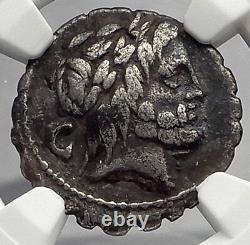 République Romaine 81bc Zeus Comme Bull Kidnappe Europa Antique Argent Monnaie Ngc I59915