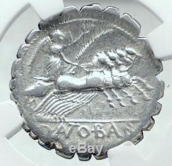République Romaine 83bc Authentique Antique Argent Monnaie Jupiter & Chariot Ngc I78042