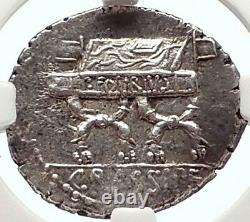 République Romaine 84bc Rome Authentique Pièce D'argent Antique Cybele & Chair Ngc I69794