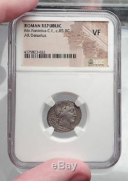 République Romaine 85bc Vejovis Genius Chèvre Amaltheia Pièce D'argent Ancienne Ngc I59952