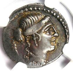 République Romaine Albinus Bruti Ar Denarius Coin 48 Bc Certifié Ngc Choice Vf