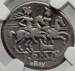 République Romaine Anonyme 211bc Twins Gemini Sur Les Chevaux Silver Coin I61984