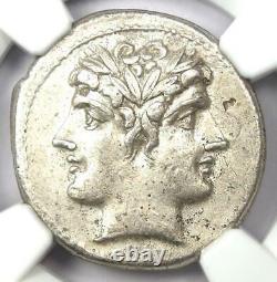 République Romaine Anonyme Ar Quadrigatus Dioscuri Janiform Coin 225 Bc Ngc Au