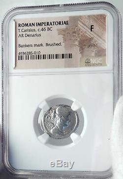 République Romaine Antique 46bc Triomphes De Jules César Silver Coin Ngc I81801