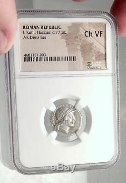République Romaine Antique Véritable 77bc Argent Rome Monnaie Victoire Chariot Ngc I73131