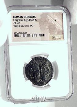 République Romaine As 86bc Authentic Ancient Rome Coin Janus Galley Ship Ngc I81371