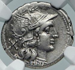 République Romaine Authentique Antique 194bc Rome Silver Coin Diana Chariot Ngc I86039