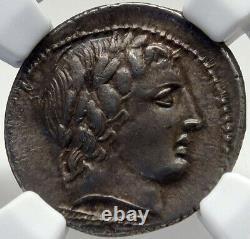 République Romaine Authentique Antique 86bc Silver Coin Apollo Chariot Ngc I82695