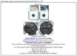 République Romaine Authentique Argent Antique Pièce Romaine Dioscuri Gemini Ngc I77877