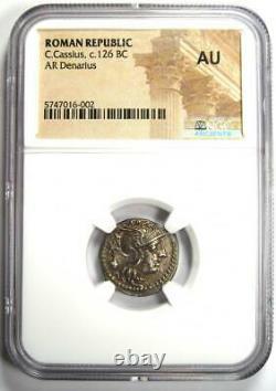 République Romaine C. Cassius Ar Denarius Silver Coin 126 Bc Certified Ngc Au