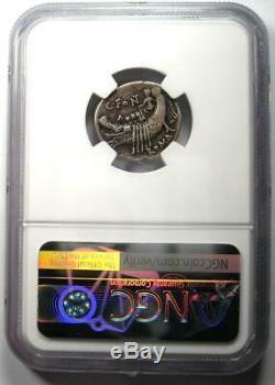 République Romaine C. Fonteius Ar Denarius Janus Janiform Coin 114 Av. Ngc Choix Vf