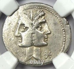 République Romaine C. Fonteius Ar Denarius Silver Coin 113 Bc Certifié Ngc Xf
