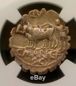 République Romaine C. Marquis Capito Denarius Serratus Ngc Vf Pièce De Monnaie Ancienne En Argent