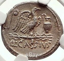 République Romaine Cassius Longinus 55bc Julius Caesar Time Pièce En Argent Ngc I69796