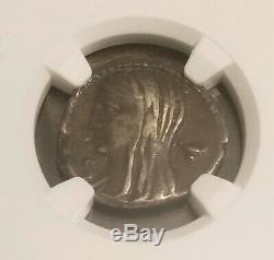 République Romaine Cassius Longinus Denier Ngc Vf 5/2 Ancient Silver Coin