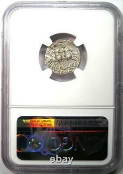 République Romaine Cn. Lucret Trio Ar Denarius 136 Bc Coin Certifié Ngc Ms (unc)