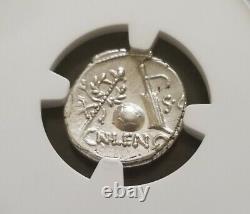 République Romaine Cornelius Lentulus Denarius Ngc Ch Au 4/4 Pièce D'argent Antique