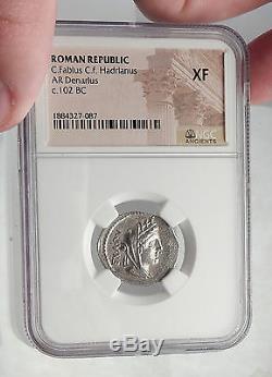 République Romaine Cybèle 102bc Victoire Chariot Stork Antique Argent Monnaie Ngc I62352