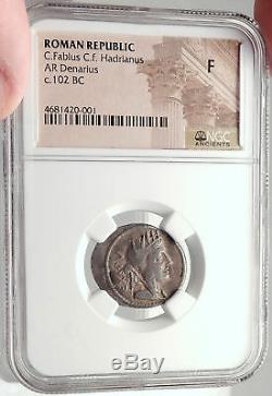 République Romaine Cybèle 102bc Victoire Chariot Stork Antique Argent Monnaie Ngc I70150