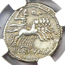 République Romaine L. Ap. Saturninus Ar Denarius Roma Coin 104 Bc Ngc Xf (ef)