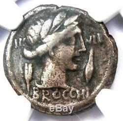 République Romaine L. Fur. Brocchus Ar Denarius Coin 63 Bc Certifié Ngc Fin