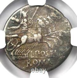 République Romaine L. Post. Albinus Ar Denarius Coin 131 Bc Certifié Ngc Vf