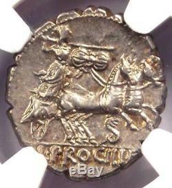République Romaine L. Procilius Ar Denarius Dentelé Pièce 80 Bc Ngc Choice Au