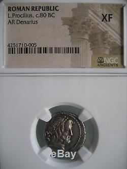 République Romaine L. Procilius C. 80 Bc Ar Denarius Ngc Xf Ancient Silver Coin