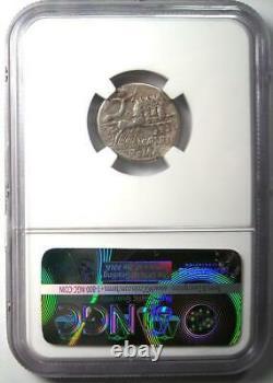 République Romaine M. Abur. Geminus Ar Denarius Coin 132 Av. J.-c. Certifié Ngc Vf