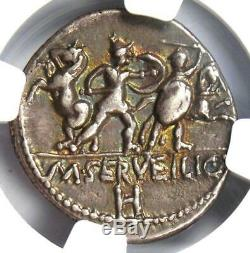 République Romaine M. Servilius C. F. Ar Denarius Roma, Chevaux Monnaie 100 Bc Ngc Xf