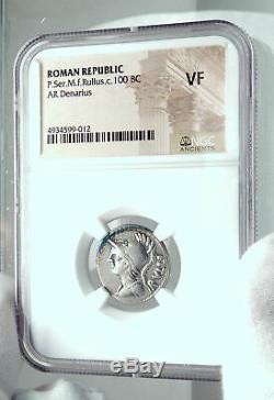 République Romaine Monnaie 100bc Argent Antique Avec Minerva Victoire Chariot Ngc I78051