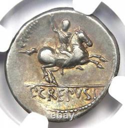 République Romaine Pub. Crepusius Ar Denarius Coin 82 Bc Certifié Ngc Vf