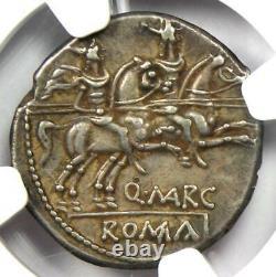 République Romaine Q. Marcius Libo Ar Denarius Coin 148 Av. J.-c. Certifié Ngc Xf (ef)
