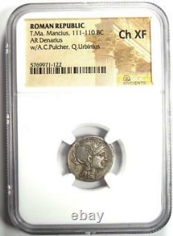 République Romaine T. Ma. Mancius Ar Denarius Coin 111 Bc Certified Ngc Choice Xf