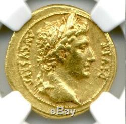Romain Auguste Or Av Aureus Monnaie 27 Bc 14 Ad Certifié Ngc Ch Xf Condition