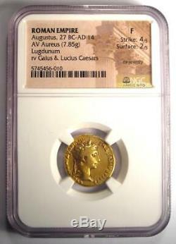 Romain Auguste Or Av Aureus Monnaie 27 Bc 14 Ad Certifié Ngc Condition Fin