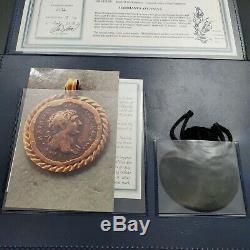 Romain Hadrien Ar Denarius Coin 117 138 Ad Aber & Levine Or Bezel Pendentif