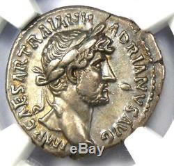 Romain Hadrien Ar Denarius Coin 117-138 Ngc Xf 5/5 Grève Et Surfaces