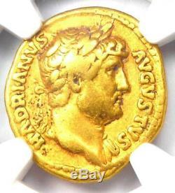 Romain Hadrien Or Av Aureus Coin 117-138 Certifié Ngc Fin