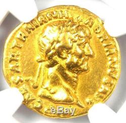 Romain Hadrien Or Av Aureus Coin 117-138 Certifié Ngc Vf (very Fine)
