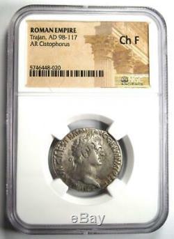 Romain Trajan Ar Cistophorus Silver Coin 98-117 Certifié Ngc Choix Fin