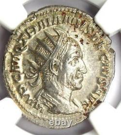 Romain Trajan Dèce Ar Double Coin Denier 249-251 Certifié Ngc Ms (unc)