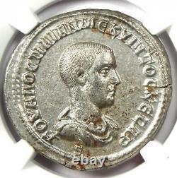 Roman Antioch Hostilian Bi Tetradrahm Pièce 251 Ad Certifié Ngc Au Rare