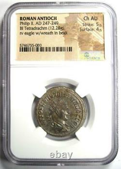 Roman Antioch Philip II Bi Tetradrachm Coin 247-249 Ad Certifié Ngc Choice Au
