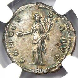 Roman Antonin Le Pieux Ar Denarius Coin 138-161 Ad. Ngc Au 5/5 Grève Et Surfaces