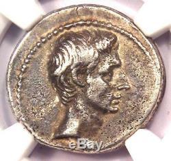 Roman Ar Auguste Octavian Denier D'argent Monnaie 32-29 Bc. Ngc Xf Avec Style Fin