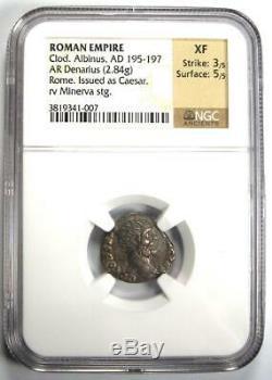 Roman Ar Denarius Albinus Clodius Coin 195-197 Ad Certifié Ngc Xf Condition